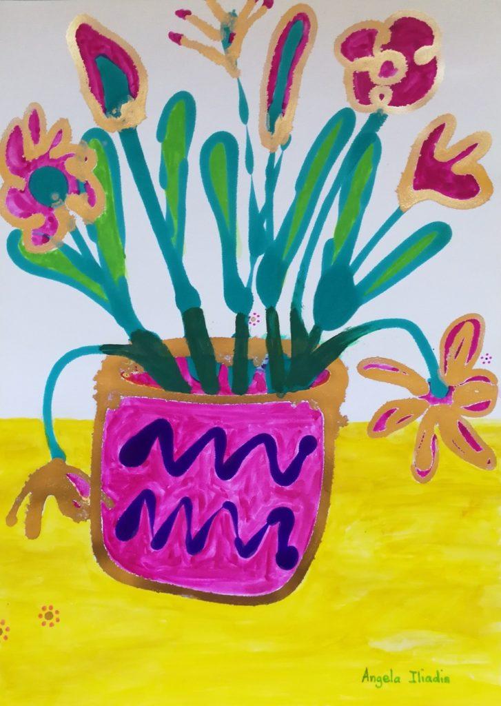Angela Iliadis-Pink and Purple Vase-jSngt