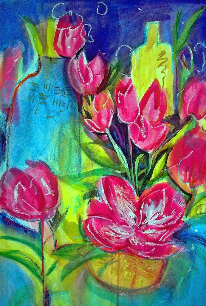 Angela Iliadis-Pink Flowers and Bottles-Print-OD8oj